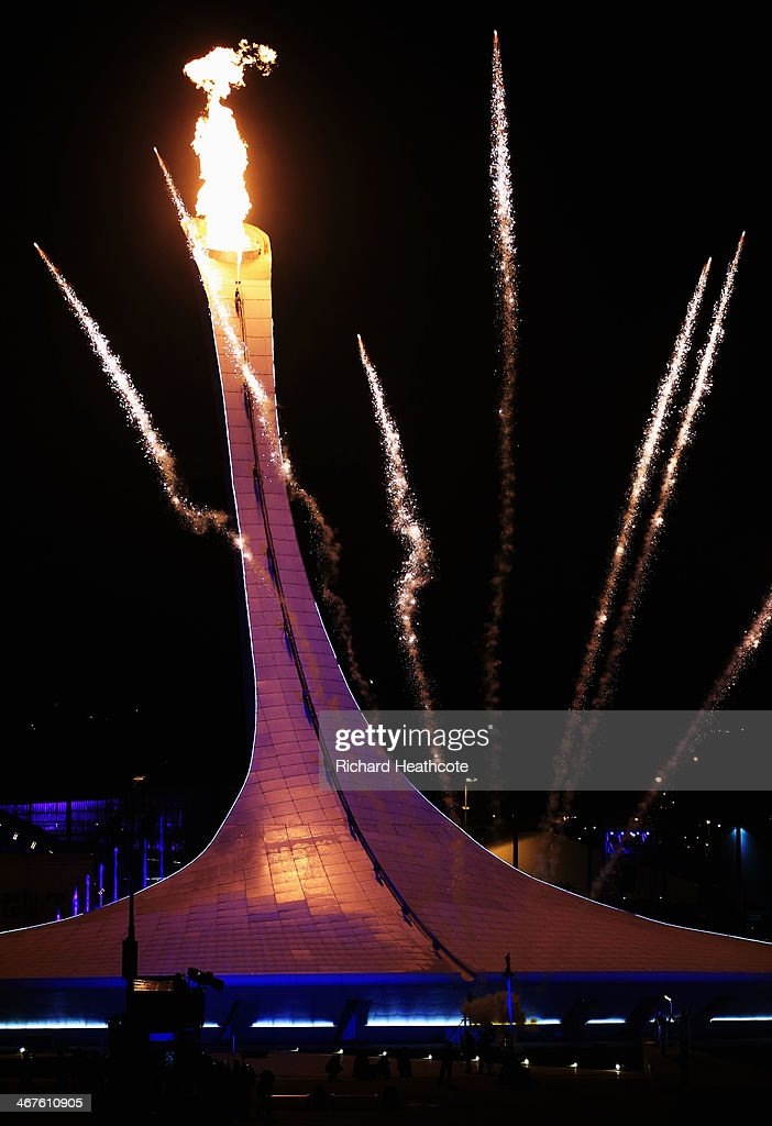 The Olympic flame is lit during the Opening Ceremony of the Sochi 2014 Winter Olympics at Fisht Olympic Stadium on February 7, 2014 in Sochi, Russia.