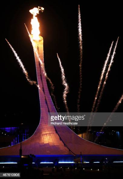 The Olympic flame is lit during the Opening Ceremony of the Sochi 2014 Winter Olympics at Fisht Olympic Stadium on February 7 2014 in Sochi Russia