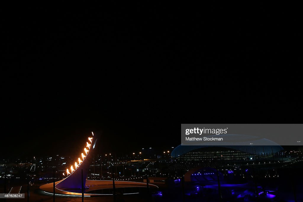 The Olympic flame is lit in Olympic Park during the Opening Ceremony of the Sochi 2014 Winter Olympics at Fisht Olympic Stadium on February 7, 2014 in Sochi, Russia.