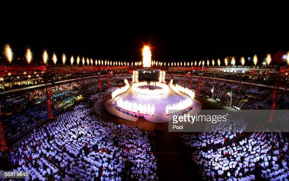 The Olympic flame is seen during the close of the Opening Ceremony of the Turin 2006 Winter Olympic Games on February 10 2006 at the Olympic Stadium...