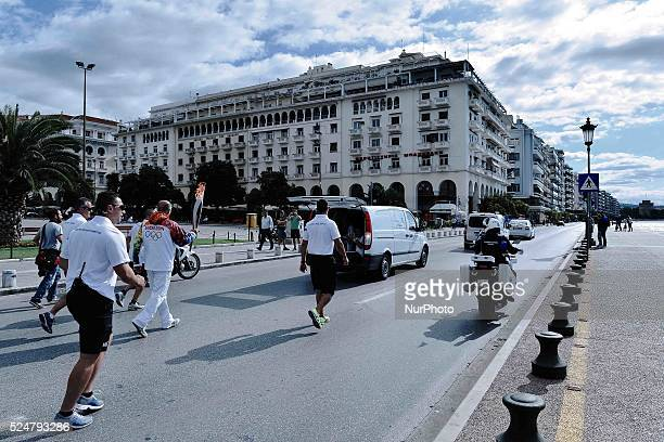 The Olympic Flame passes from Aristotelous square in Thessaloniki The Olympic Flame of the SOCHI 2014 winter olympics arrived today morning in...