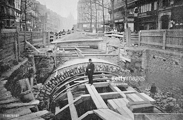 The Olympic Games were held during the Great Exposition in Paris 1900 This images shows the construction of the Paris Metro or subway at rue...