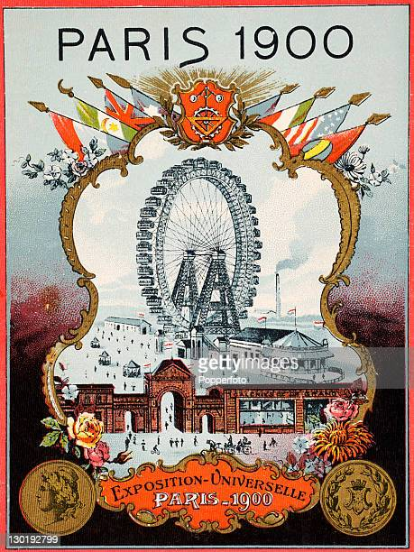 The Olympic Games were held during the Great Exposition in Paris 1900 This contemporary illustration features a general view of the exposition...