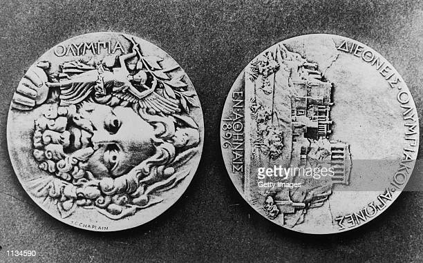 The Olympic Medals from the 1896 Games in Athens the First Olympic Games of the Modern Era