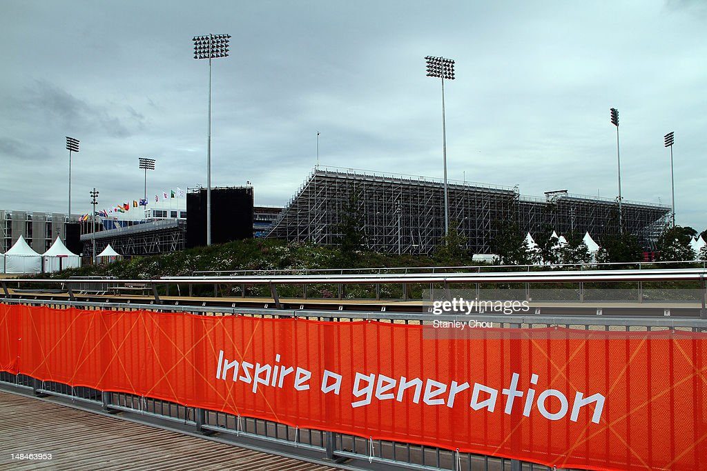 The Olympic motto foreground the Hockey Stadium at the Olympic Park on July 17 2012 in London England