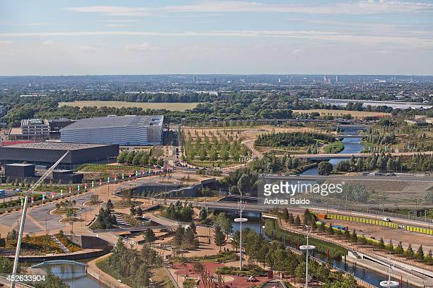The Olympic Park and the Lea River as seen from the Orbit Tower in Stratford