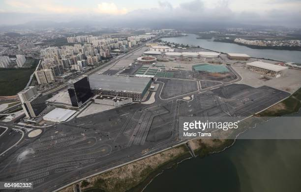 The Olympic Park stands with polluted water along the shoreline on March 17 2017 in Rio de Janeiro Brazil Seven months after the Rio hosted the first...