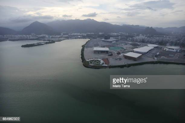 The Olympic Park stands with polluted water near the shoreline on March 17 2017 in Rio de Janeiro Brazil Seven months after the Rio hosted the first...