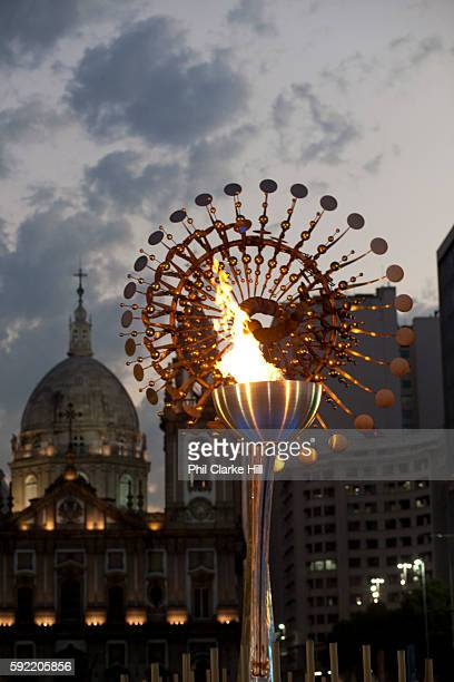 The Olympic pyre People from all over the World have come down to the Olympic boulevard to enjoy the games at this live site Praca Maua and Praca XV...