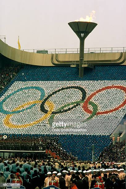 The Olympic rings and flame during the Opening Ceremony of the Summer Olympic Games in Moscow on 19th July 1980