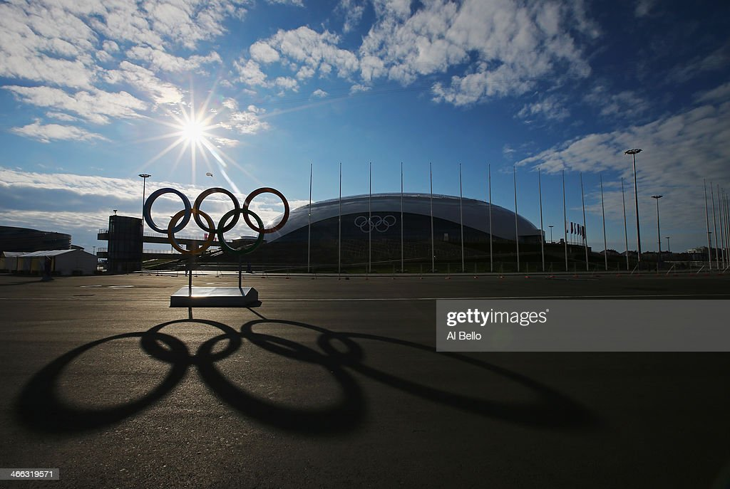 The Olympic Rings are displayed in front of the Bolshoy Ice Dome inside the Olympic Park prior to the Sochi 2014 Winter Olympics at on February 1, 2014 in Sochi, .