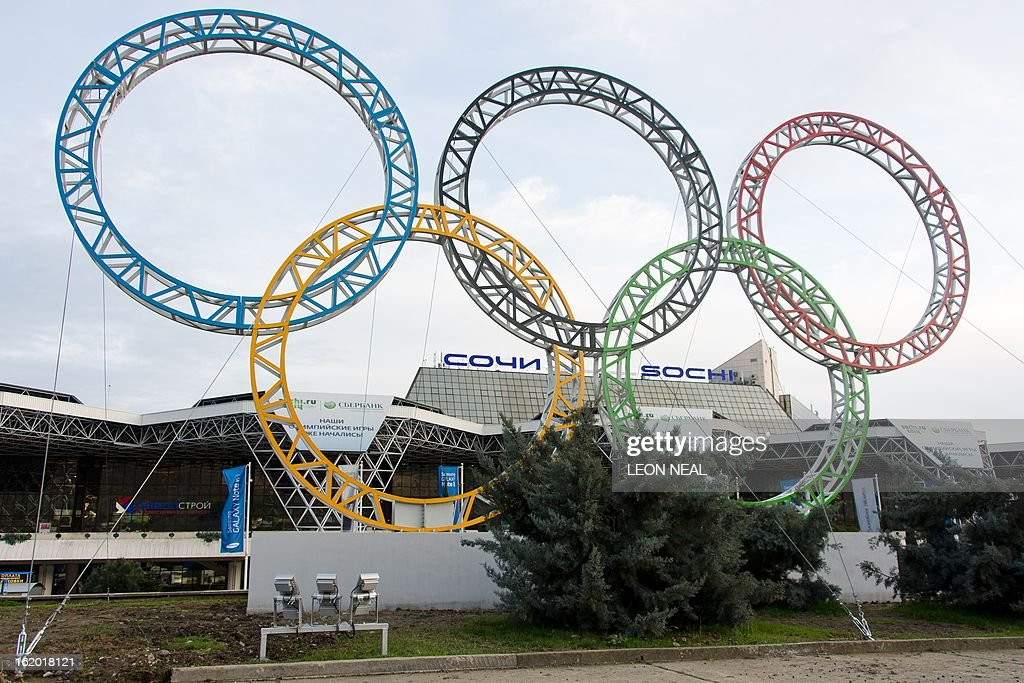 The Olympic Rings are displayed outside Adler airport, near Sochi, on February 18, 2013. With a year to go until the Sochi 2014 Winter Games, construction work and development continues as Olympic tests events and World Championship competitions are underway.