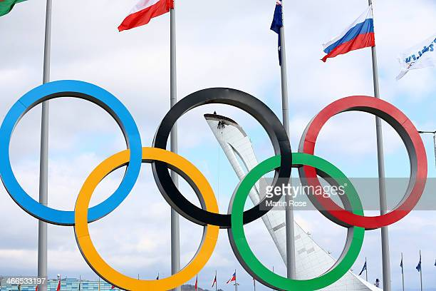 The Olympic Rings are displayed while workers prepare the Olympic Cauldron ahead of the Sochi 2014 Winter Olympics at Olympic Park on February 2 2014...