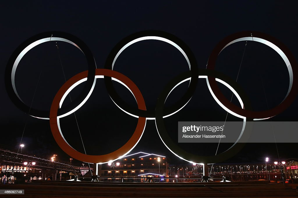 The Olympic Rings are illuminated in the Rosa Khutor Mountain Cluster village ahead of the Sochi 2014 Winter Olympics on January 31, 2014 in Rosa Khutor, Sochi, Russia.