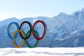 The Olympic rings are seen ahead of the Sochi 2014 Winter Olympics at the Laura CrossCountry Ski and Biathlon Center on February 4 2014 in Sochi...