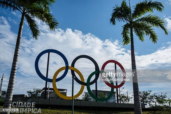 The Olympic rings are seen at Madureira Park the third largest park in Rio de Janeiro Brazil on July 1 400 days ahead of the Rio 2016 Olympic games...
