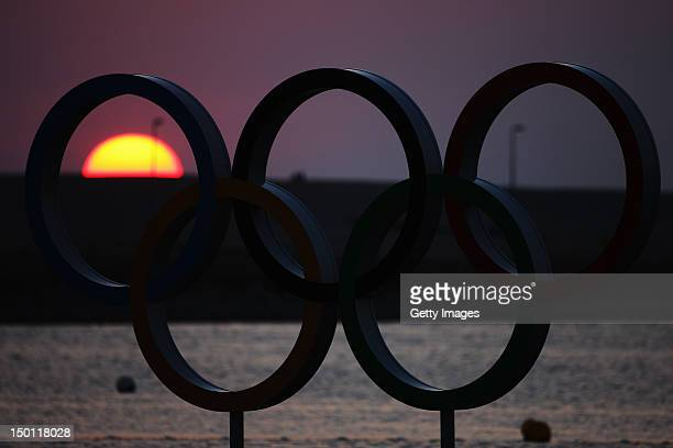 The Olympic rings are seen at sunset on Day 14 of the London 2012 Olympic Games at the Weymouth Portland Venue at Weymouth Harbour on August 10 2012...