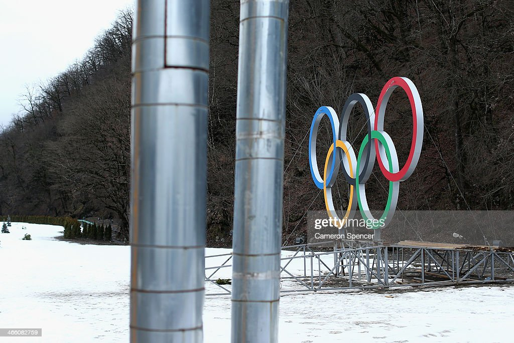 The Olympic Rings are seen at the Rosa Khutor Mountain Cluster village ahead of the Sochi 2014 Winter Olympics on January 31, 2014 in Rosa Khutor, Sochi.
