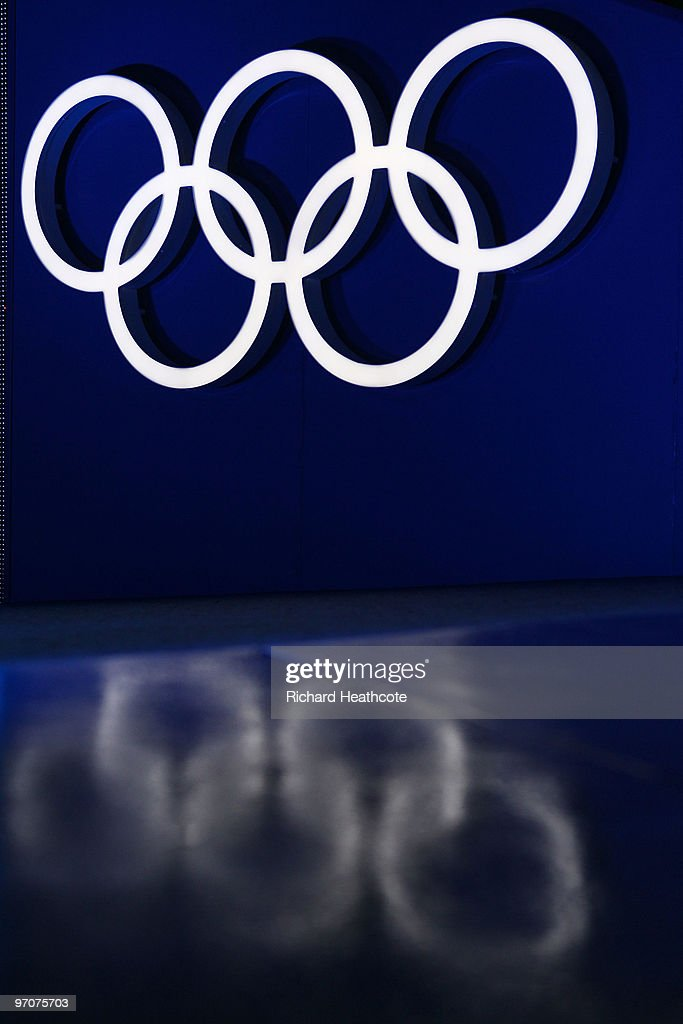 The Olympic rings are seen during the medal ceremony on day 14 of the Vancouver 2010 Winter Olympics at Whistler Medals Plaza on February 25 2010 in...