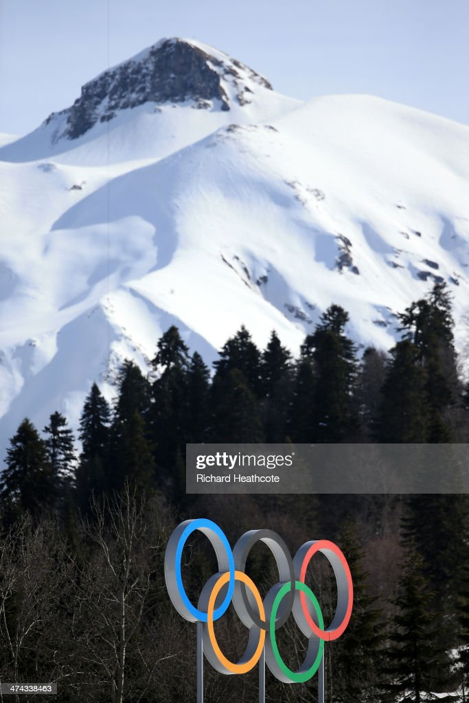 The Olympic rings are seen in front of a mountain during the Men's 50 km Mass Start Free during day 16 of the Sochi 2014 Winter Olympics at Laura Cross-country Ski & Biathlon Center on February 23, 2014 in Sochi, Russia.