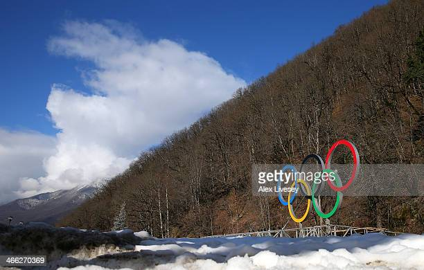 The Olympic rings are seen prior to the Sochi 2014 Winter Olympics at the Rosa Khutor Mountain village cluster on February 1 2014 in Sochi Russia