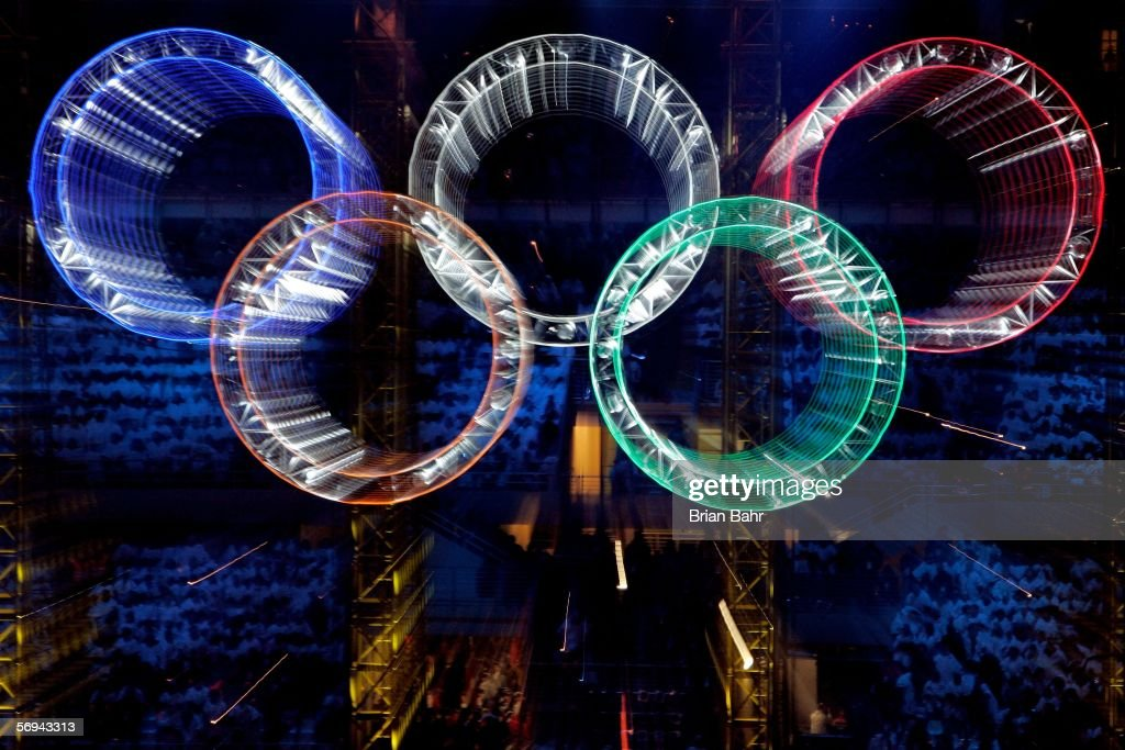 The Olympic rings are shown during the Closing Ceremony of the Turin 2006 Winter Olympic Games on February 26 2006 at the Olympic Stadium in Turin...