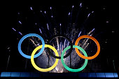 The Olympic Rings are unveiled at a ceremony at Madureira Park May 20 2015 in Rio de Janeiro Brazil
