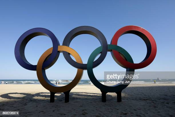 The Olympic Rings being placed at the Gyeongpodae beach near the venue for the Speed Skating Figure Skating and Ice Hockey ahead of the PyeongChang...