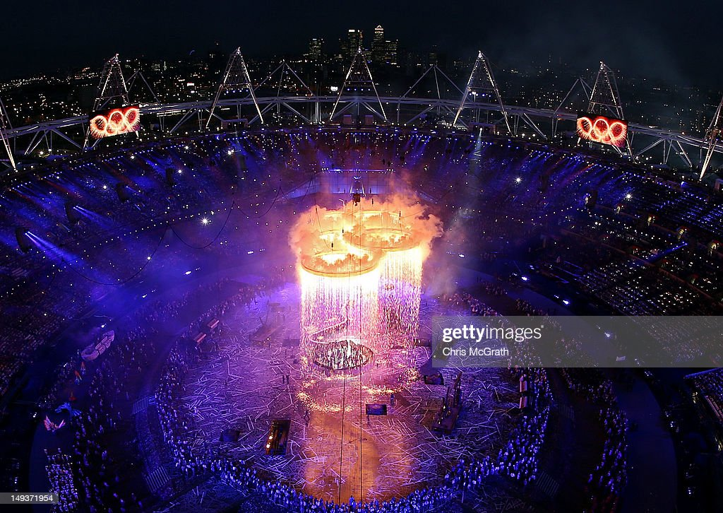 The Olympic Rings form during the Opening Ceremony of the London 2012 Olympic Games at the Olympic Stadium on July 27 2012 in London England