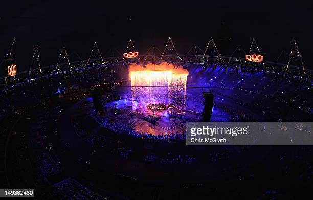The Olympic Rings form over the Opening Ceremony of the London 2012 Olympic Games at the Olympic Stadium on July 27 2012 in London England