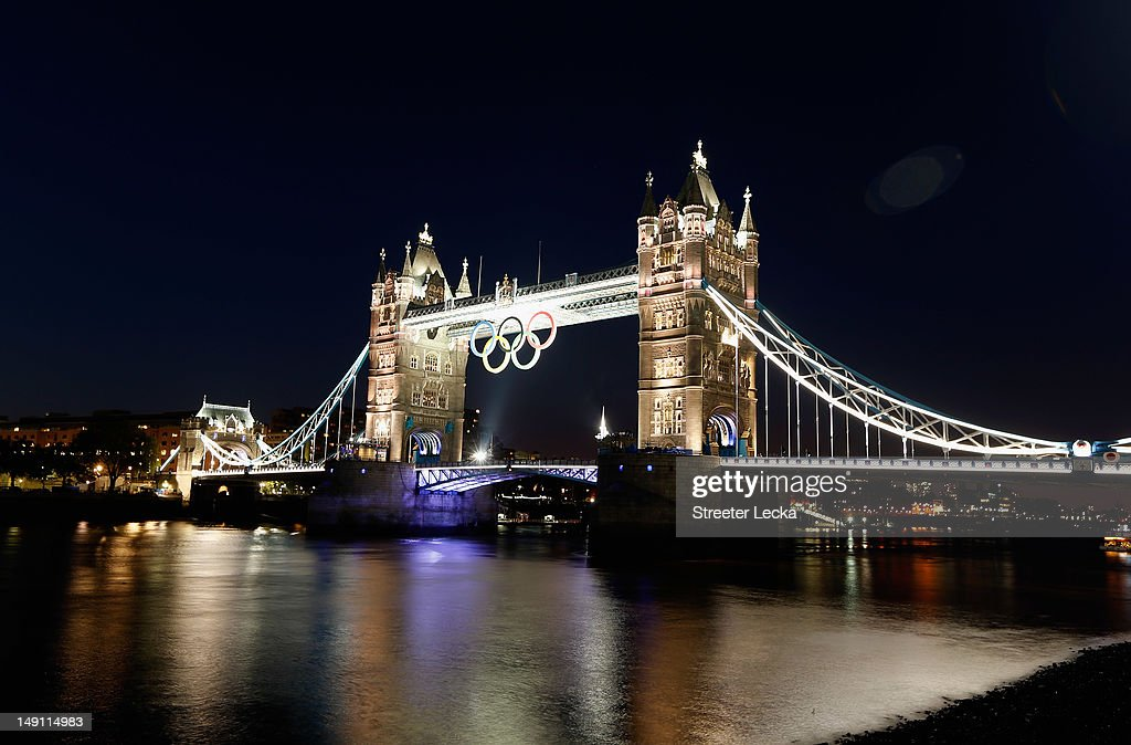 The Olympic rings hang from Tower Bridge ahead of the London 2012 Olympic Games on July 22, 2012 in London, England.