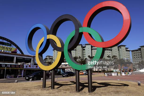 The Olympic rings is seen in Gangneung town near the venue for the Speed Skating Figure Skating and Ice Hockey ahead of PyeongChang 2018 Winter...