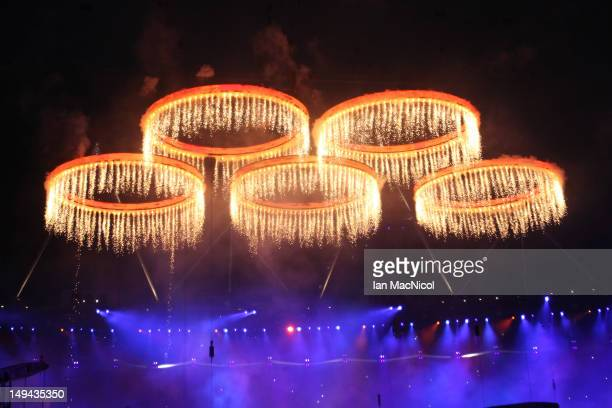 The Olympic rings light up the stadium during the Opening Ceremony of the London 2012 Olympic Games at the Olympic Stadium on July 27 2012 in London...