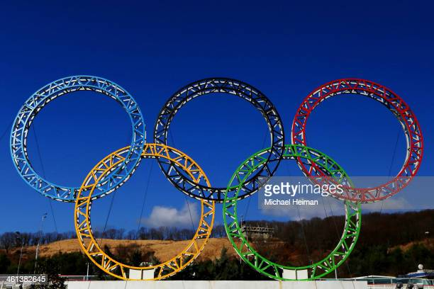 The Olympic Rings stand outside of Sochi International Airport on January 8 2014 in Alder Russia The region will host the Sochi 2014 Winter Olympics...