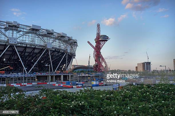 The Olympic Stadium and the Orbit Tower seen from Green Way in Pudding Mill Lane East London