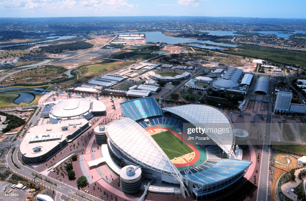 The Olympic Stadium for the Sydney Olympics is shown in this aerial photograph taken in Sydney Australia March 30 2000