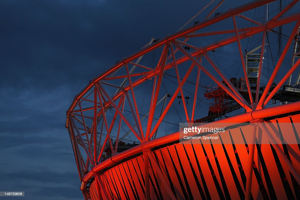 The Olympic Stadium illuminated at night at Olympic Park on August 2, 2012 in London, England.