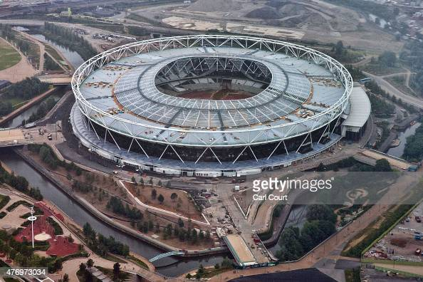 The Olympic Stadium is pictured from a helicopter on June 13 2015 in London England