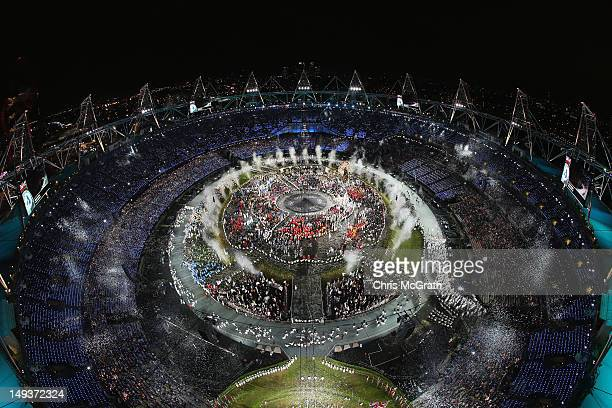 The Olympic Stadium is seen during the Opening Ceremony of the London 2012 Olympic Games at the Olympic Stadium on July 27 2012 in London England