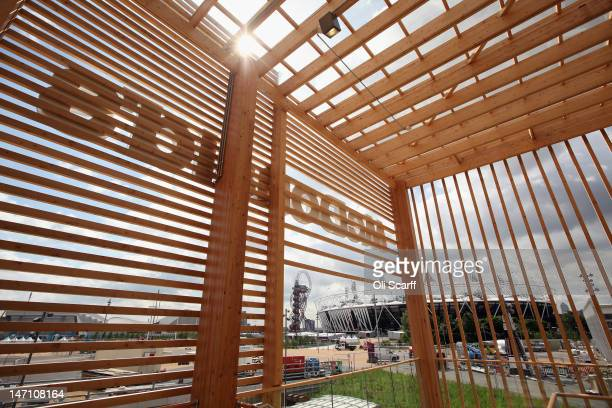The Olympic Stadium is seen from the balcony of the world's largest McDonald's restaurant which is their flagship outlet in the Olympic Park on June...