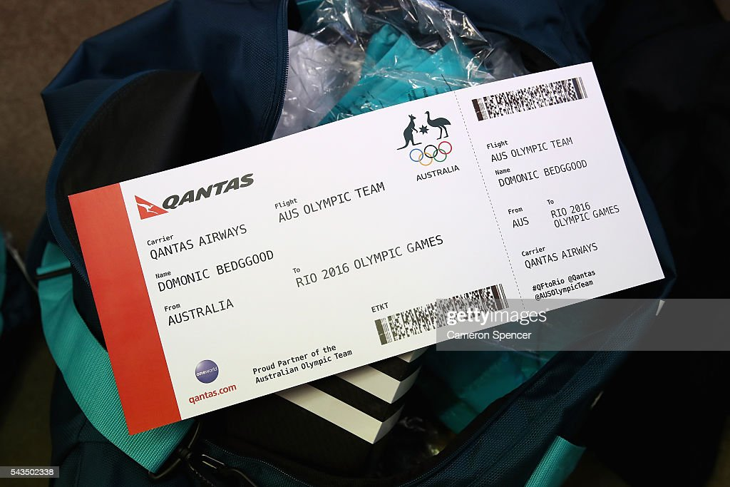 The Olympic ticket of Domonic Bedggood is seen during the Australian Olympic Games diving team announcement at the Museum of Contemporary Art on June 29, 2016 in Sydney, Australia.