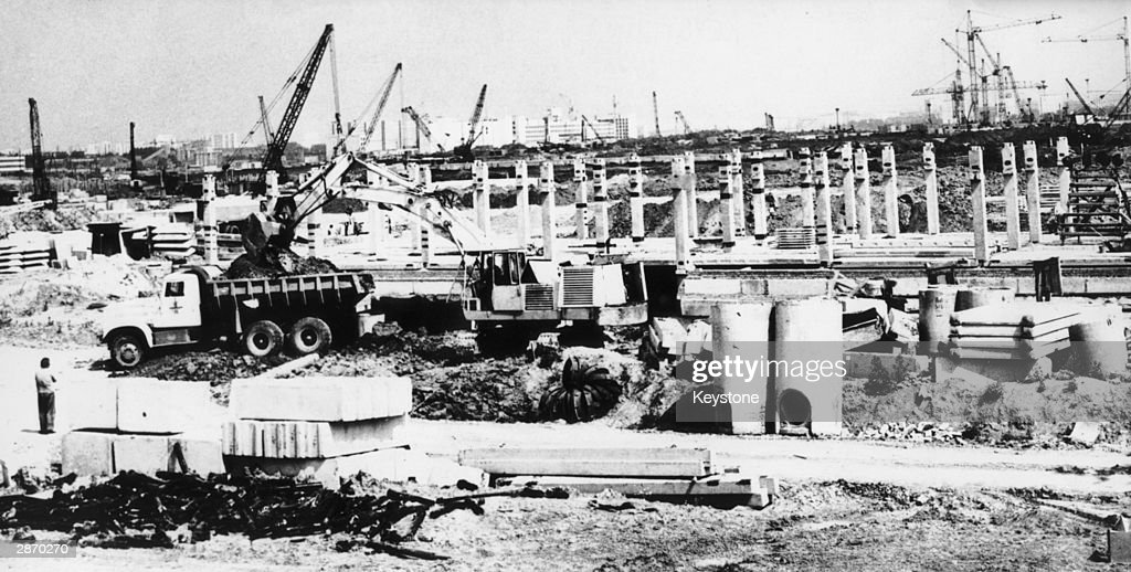 The Olympic village under construction in Moscow 10th August 1977 to be ready for the 1980 Olympic Games