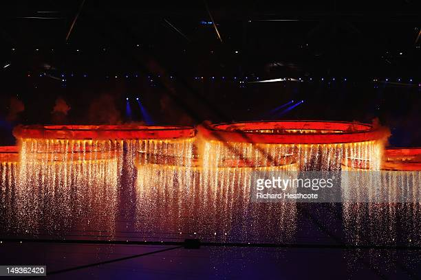 The Olympic wings form during the Opening Ceremony of the London 2012 Olympic Games at the Olympic Stadium on July 27 2012 in London England