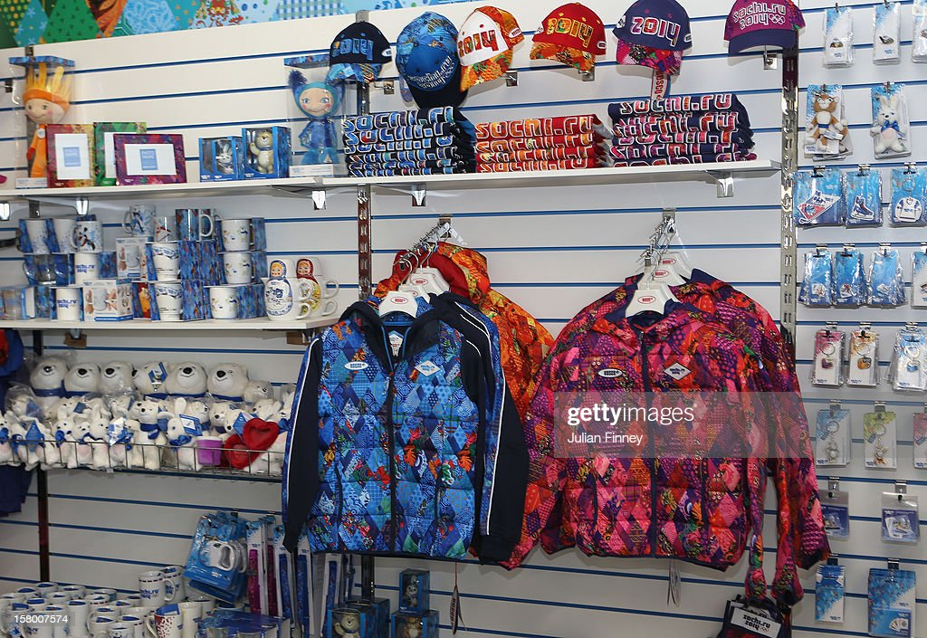 The olympic winter games merchandise shop is seen during the Grand Prix of Figure Skating Final 2012 at the Iceberg Skating Palace on December 8, 2012 in Sochi, Russia.