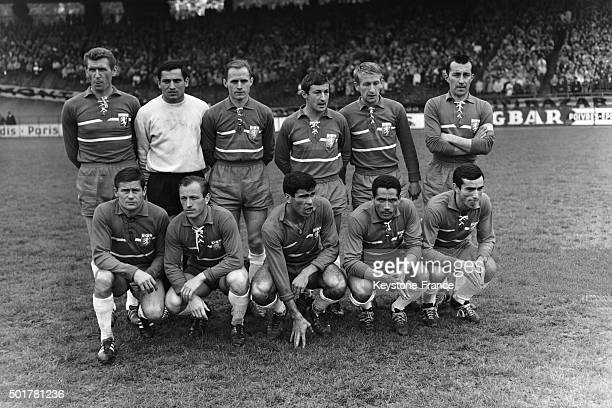 The Olympique Lyonnais team before before the final of the Football Coupe de France at the Parc des Princes stadium on May 23 1963 in Paris France