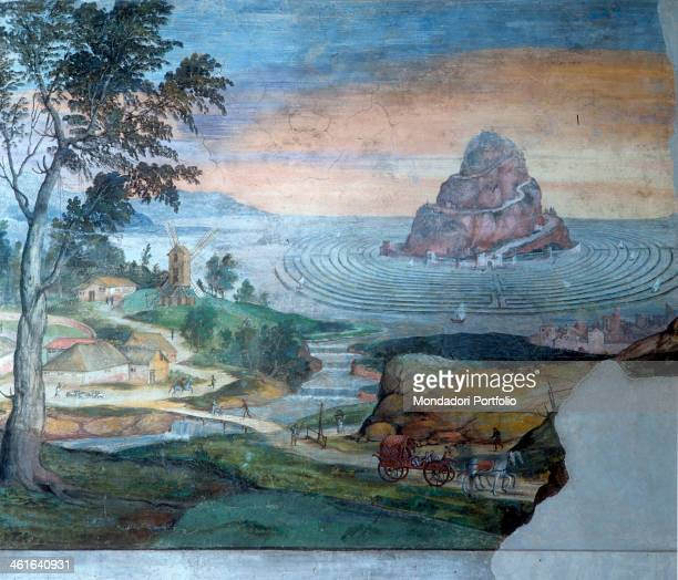The Olympus over a water labyrinth by Bartholomäus DillRiemenschneider 1520 1525 14th Century fresco Italy Lombardy Mantua Ducal Palace Whole artwork...