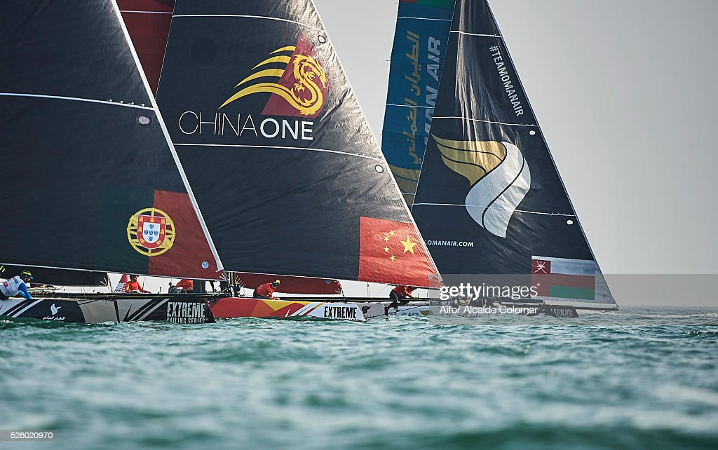 The Oman Air GC32 foiling catamaran skippered by Morgan Larson (USA) and One (CHN) skippered by Taylor Canfield (ISV) racing during the Extreme Sailing Series Qingdao 2016 on April 29, 2016 in Qingdao, China.