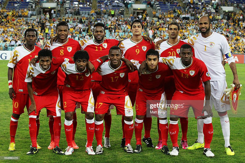 The Oman team line up before the FIFA 2014 World Cup Qualifier match between the Australian Socceroos and Oman at ANZ Stadium on March 26, 2013 in Sydney, Australia.