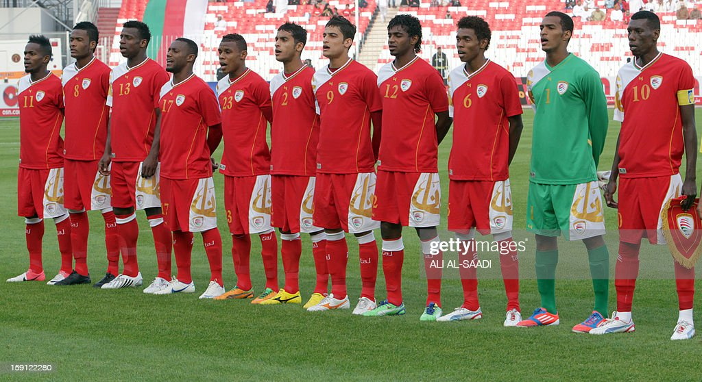 The Omani team line-up prior the start of their game against Qatar in the 21st Gulf Cup in Manama, on January 8, 2013.