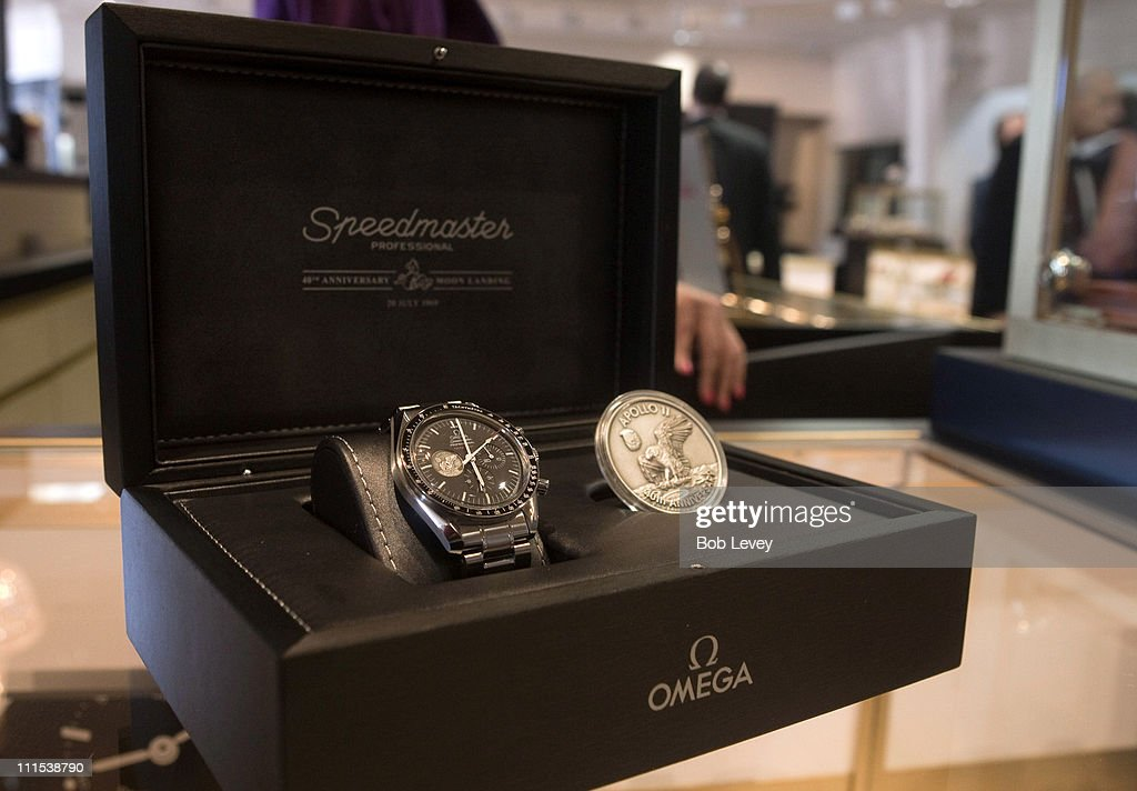 The Omega Speedmaster Professional commemorating the 40th Anniversary of Apollo 11 landing on display at a cocktail reception hosted by Omega at the I.W. Marks Jewelers on June 17, 2009 in Houston, Texas.